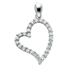 Pendant Open Curve Fancy 15 x 20 mm Cz Heart Charm Solid 14k White Gold Love
