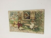 Antique 1905 Easter Embossed Greeting Post Card Family Rabbits Baetz Co. Posted