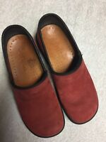 Sanita Women's Red Suede Leather Slip On Casual Work Shoes Clogs Size 36A US 6 A