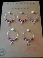 wine glass charms. Stars. Gift set. Purple colour