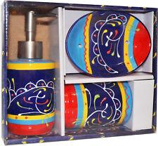 3-tlg. Badset mediterran aus Keramik Seifenspender Zahnputzbecher Seifenablage