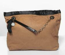 LANVIN Amalia Cabas Lambskin Leather Caramel Tote Satin Trim Shoulder Bag NEW