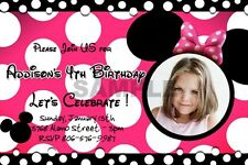 MINNIE MOUSE HOT PINK DOTS POLKA ZEBRA BIRTHDAY PARTY INVITATION CUSTOM 1ST - C1