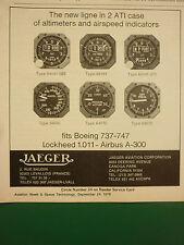 9/79 PUB JAEGER AVIATION ALTIMETER AIRSPEED INDICATOR BOEING AIRBUS LOCKHEED  AD