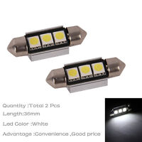 2x White 3SMD 36mm Error Free Canbus Festoon Number License Plate Light Car LED