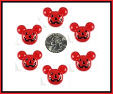 6 PC HALLOWEEN RED MICKEY PUMPKIN JACK O LANTERN FLATBACK FLAT BACK RESINS