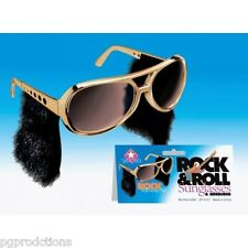 ELVIS SUNGLASSES With Sideburns Presley Rock & Roll Sun Glasses Costume Gold Gag