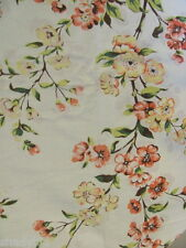 TABLE CLOTH VINTAGE BROADCLOTH Pinks Yellows Orange Floral Border 50 x 57