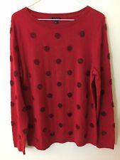 TALBOTS Red Tinsel Polka Dot Bauteu neck Long Sleeve Sweater Large *