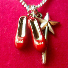 Wizard of Oz Dorothy Ruby Red Slippers & Glinda Magic Wand Charm Necklace ~Shoes