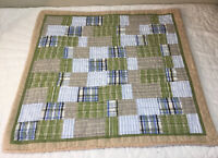 Patchwork Quilt Wall Hanging, Squares & Rectangles, Plaids, Checks, Blue, Green