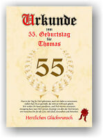Urkunde zum 55. GEBURTSTAG Geschenkidee Geburtstagsurkunde Namensdruck Partydeko
