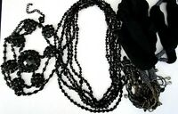 Great Lot of 5 Vintage Black Crystal Beaded Necklaces
