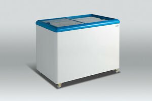 Scan Cool 11 cu ft Glass Top Chest Freezer Sliding Door For Sale
