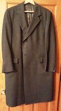 Vintage 80's Mens 44R Capper & Capper Gray Herringbone Wool Overcoat Mint estate