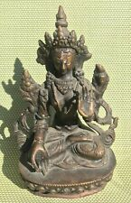 "Old Bronze White Tara Statue for Dharma in Nepal, Tibet 6"" High"