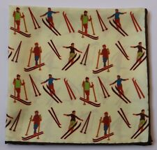 Cream Silk Hand rolled pocket square with Skiers Skiing 30cm square