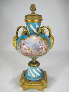 Antique French Sevres gilt bronze & porcelain urn # AR560