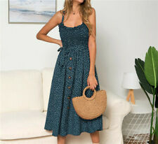 UK 6-16 Women Summer Sleeveless Polka Dot Beach Dresses Stretch Holiday Sundress
