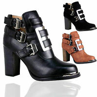Women Ladies Buckle Strap Cut Out Block Heel Ankle Boots Chelsea Shoes Size 3-8