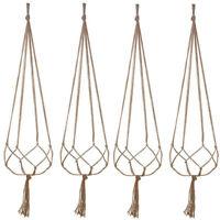 Flower Plant Pot Basket Holder Hanging Chain Hook Jute Hemp Rope Balcony Garden