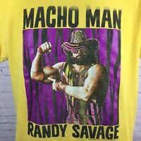 Macho Man Randy Savage T-Shirt Retro Yellow Wrestling wwf wwe Size Medium