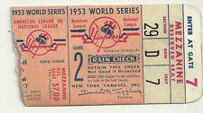 1953 World Series Game 2 Ticket Stub Yankees vs Dodgers 4-2 Yanks Mantle Homers