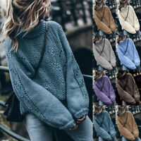 Womens Long Sleeve Knitted Cardigan Tops Ladies Plain High Neck Jumper Sweater