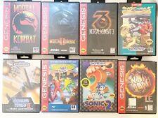 Lot Of 8 Sega Genesis Games W/ Cases Thunder Force 2 Mortal Kombat Battletoads