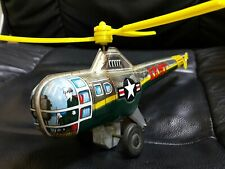 VINTAGE ARMY HELICOPTER TIN TOY JAPAN T.T  METAL PLASTC RUBBER OLD ANTIQUE RARE