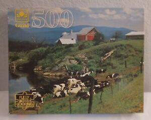 VINTAGE GOLDEN GUILD 500 PIECE PUZZLE DAIRY FARM COWS, NEW OLD STOCK