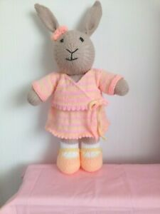 """HAND KNITTED RABBIT """"PINK,LEMON & PEACH OUTFIT"""""""