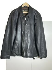 Columbia Black Leather Bomber Jacket XXL