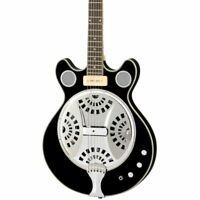 Eastwood Guitars Delta 6 Baritone - Black - Electric / Acoustic Resonator Guitar
