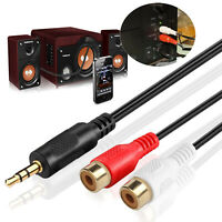 3.5MM Male To 2 RCA Female Jack Stereo Audio Cable Aux Y Adapter Splitter DVD PC