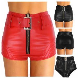 Womens Wetlook Zipper Hot Pants PU Leather Booty Shorts Bottoms Clubwear Costume