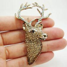 Classic Christmas Stag Deer Brooch Brown Austrian Crystal Cute Animal Pin