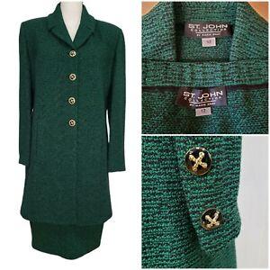 St John Collection Size 12 Suit Skirt Duster Cardigan Green Black Metallic Knit