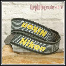 FREE UK POST Genuine Nikon Grey Yellow Fabric Webbing Camera strap 4 Digital SLR