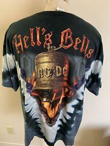 VTG Liquid Blue AC/DC Hells Bells Tour Band Shirt Single Stitch USA XL Tie Dye