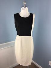 Calvin Klein M 8 Beige Black Colorblock Dress Sheath Sleeveless Career Cocktail