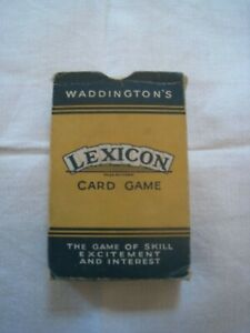 LEXICON : THE PRECURSOR TO SCRABBLE : A VINTAGE PACK OF 52 CARDS AND THE RULES