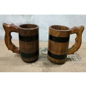 Wooden Tea Cups Oak Wood Mug Handmade Barrel Juice Beer Cup Durable Travel