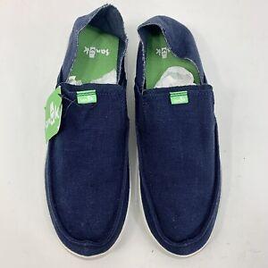 Sanuk Men's Size 9 Pick Pocket Slip-On Navy Blue Linen 1102478 Shoes