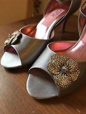 Alan Pinkus Pink Inc Silver Satin Heels with Flower Size 7
