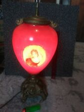 Antique Painted Milk Glass VICTORIAN Girls &  ELECTRIC Kerosene Oil Lamp LUMINAT