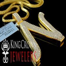 10K Yellow Gold Silver Initial Letter Alphabet N Pendant Diamonds Charm + Chain