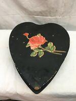Vintage Wood HEART SHAPE Hinged Trinket Jewelry Sewing Box VALENTINES