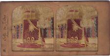 Salle du Trône Palais des Tuileries Stéréo Diorama Tissue Vintage Albumine