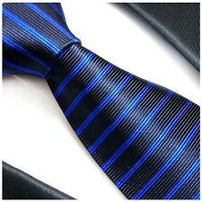 Paul Malone blaue Krawatte - blau schwarz gestreifte Seidenkrawatte 765
